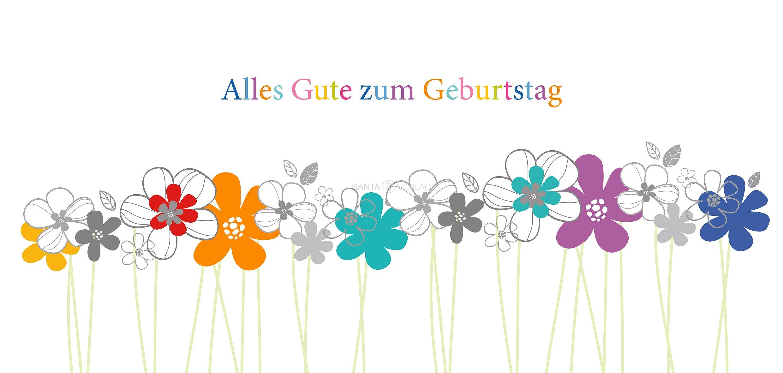Gluckwunschkarte Blumen Mit Stiel Alles Gute Zum Geburtstag